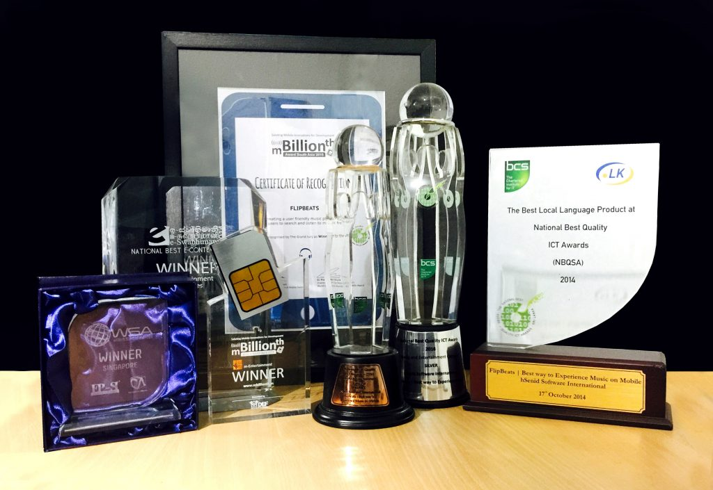 Awards won by the Mobile App FlipBeats Co-Founded by Sachi Wickramage
