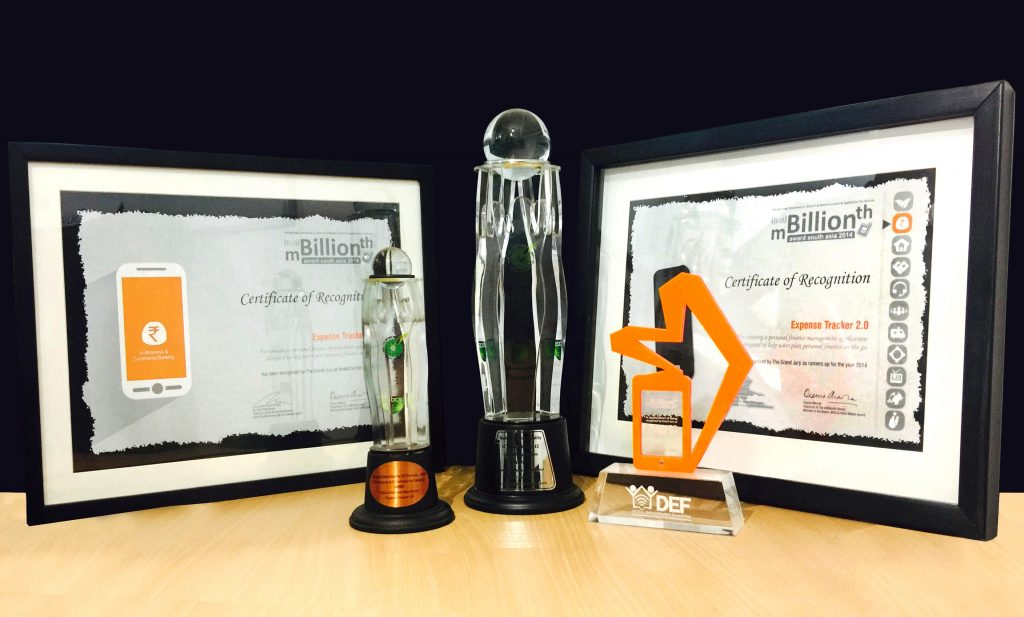 Awards won by the Mobile App Expense Tracker 2.0 Co-Founded by Sachi Wickramage