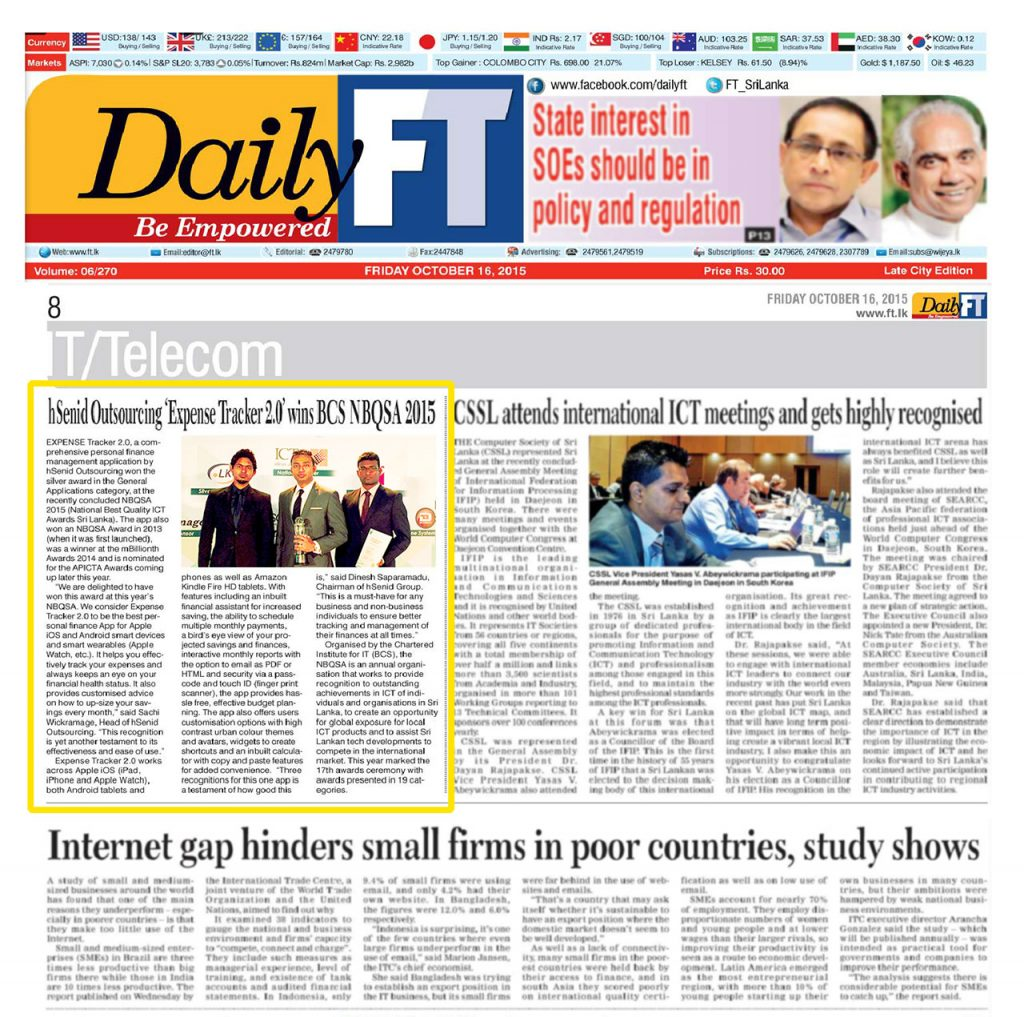 Date [16.10.2015] News Paper [DailyFT] News Paper & Print Media Coverage of Sachi Wickramage
