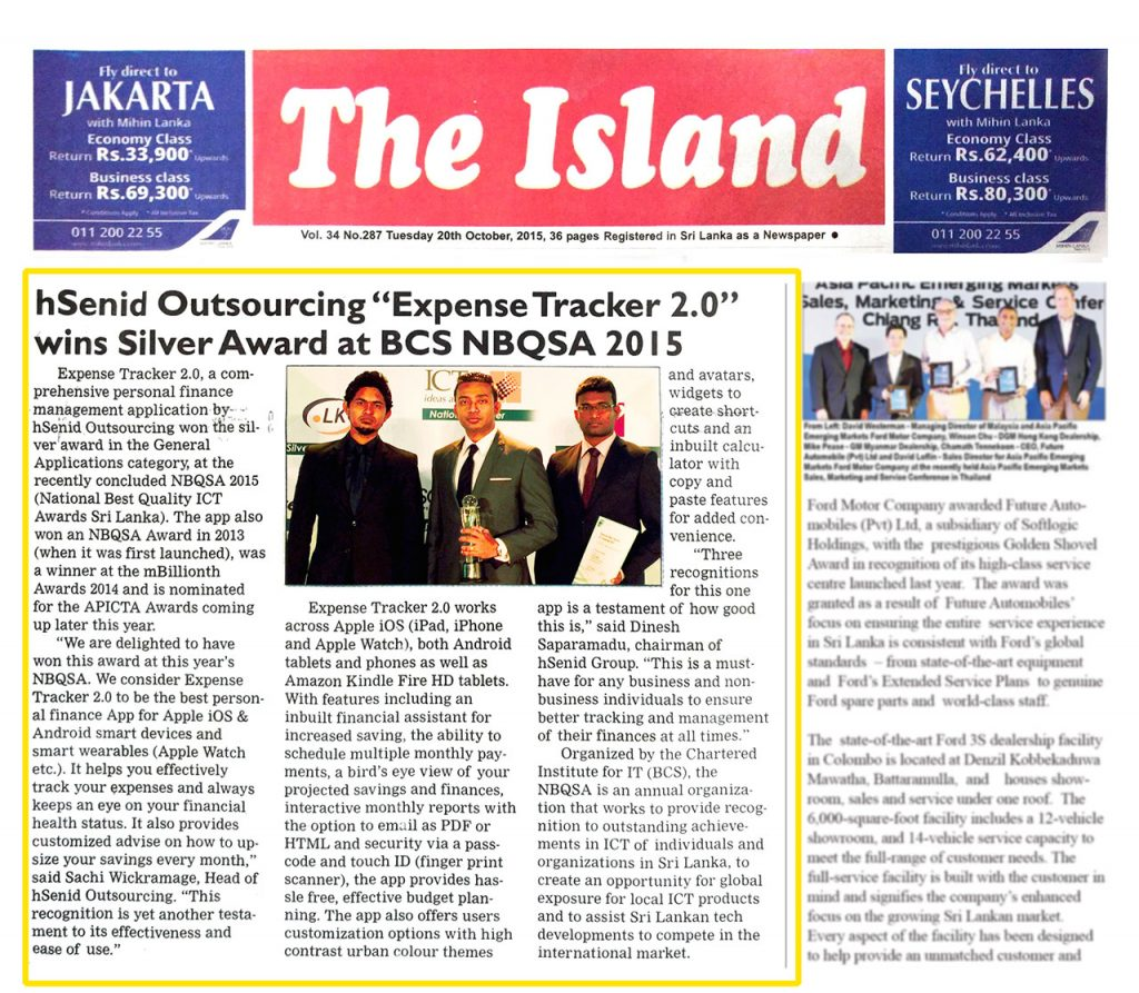 Date [20.10.2015] News Paper [The Island] News Paper & Print Media Coverage of Sachi Wickramage