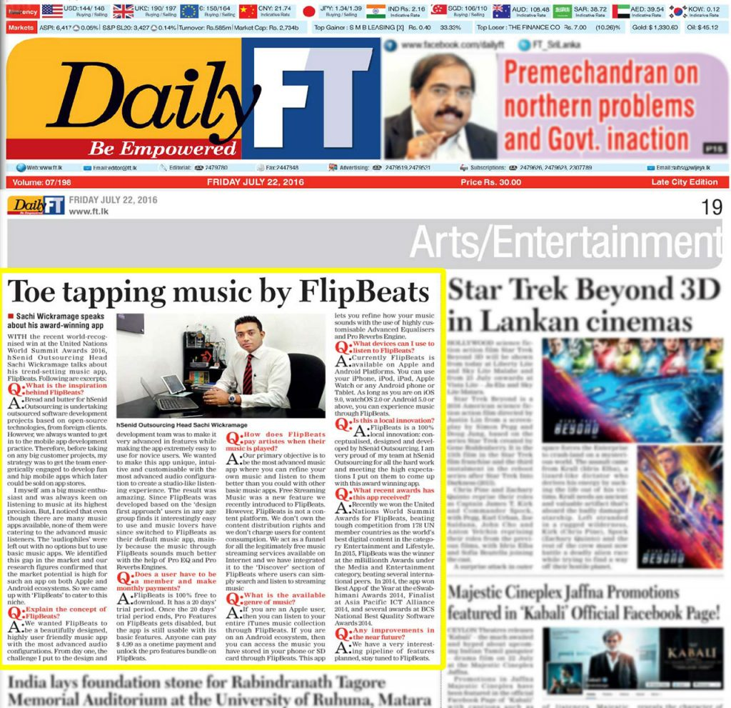 Date [22.07.2016] News Paper [DailyFT] News Paper & Print Media Coverage of Sachi Wickramage