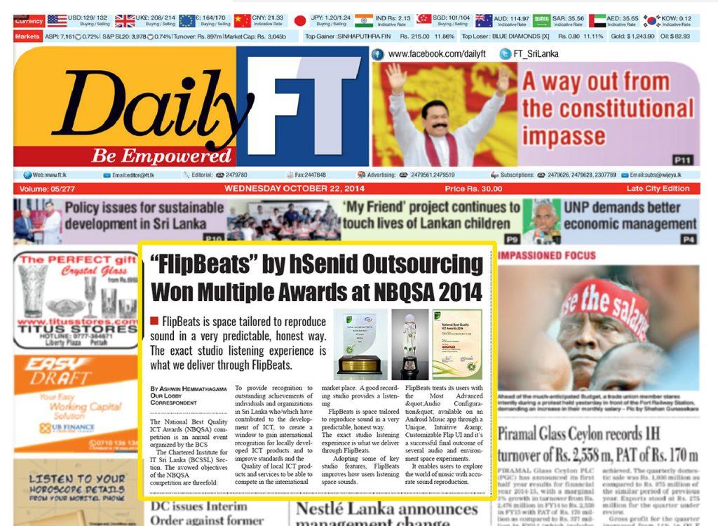 Date [22.10.2014] News Paper [DailyFT] News Paper & Print Media Coverage of Sachi Wickramage
