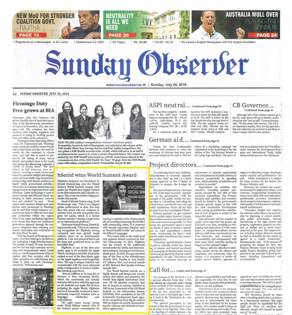 Date [24.07.2016] News Paper [Sunday Observer] News Paper & Print Media Coverage of Sachi Wickramage