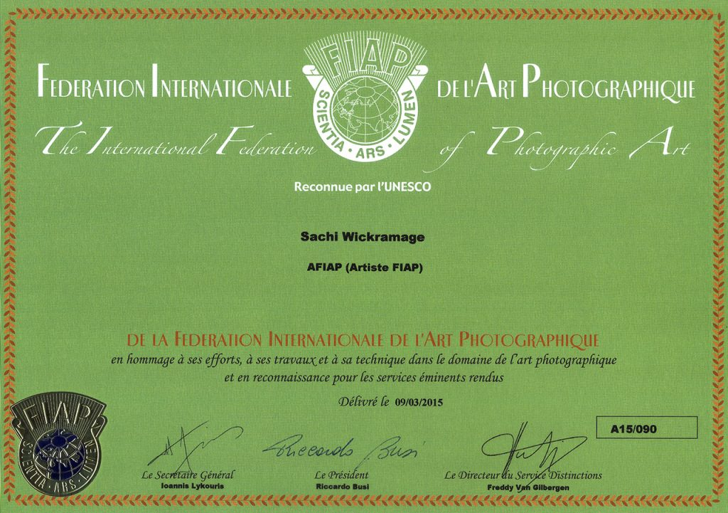 "Sachi Wickramage Awarded with the title ""Photo Artist"" by ""The International Federation of Photographic Art"" (FIAP) France"