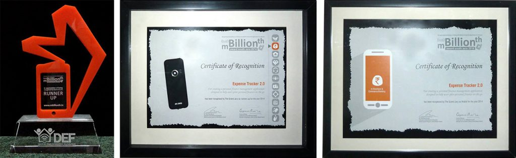 Expense Tracker 2.0 Winner at mBillionth Awards 2014