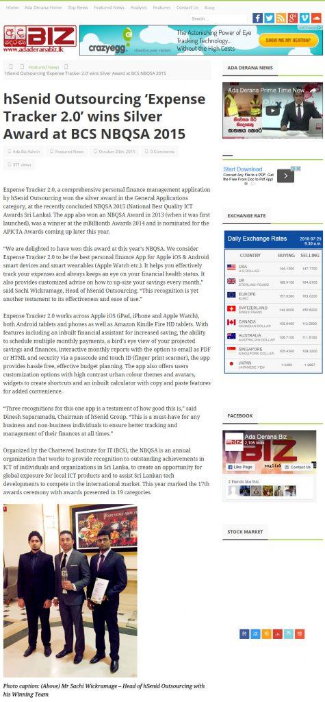 Date [20.10.2015] News Website [Ada Derana Biz] News Paper & Print Media Coverage of Sachi Wickramage