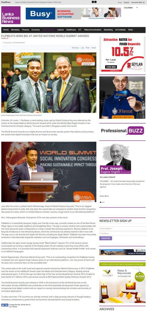 Date [14.07.2016] News Website [Lanka Business News] News Paper & Print Media Coverage of Sachi Wickramage
