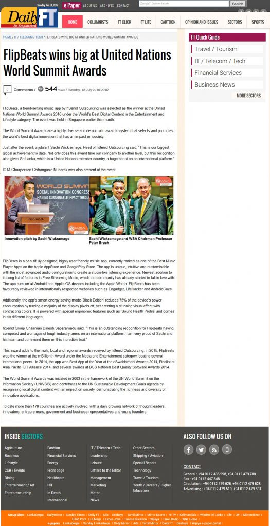 Date [12.07.2016] News Website [Daily FT] News Paper & Print Media Coverage of Sachi Wickramage